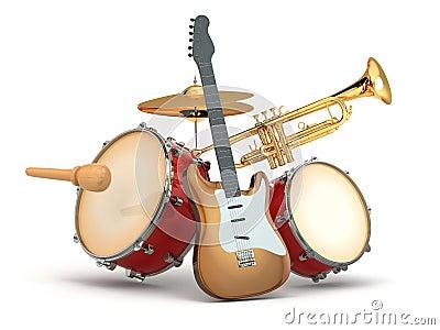 Instrumentos musicais. Guitarra, cilindros e trombeta.