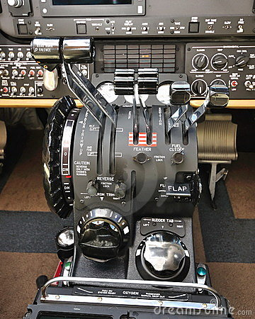 Instruments and flight controls of aircraft Editorial Stock Image