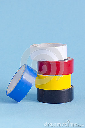 Insulating tape on azure background