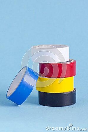 Insulating tape on azure background