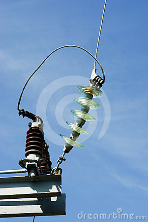 Free Insulators On A High Voltage Electric Pillar Royalty Free Stock Photo - 24485455