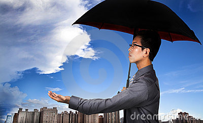 Insurance agent with umbrella