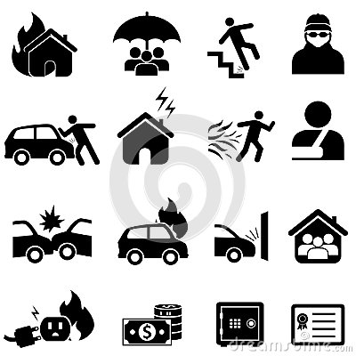 Free Insurance And Disaster Icon Set Royalty Free Stock Photo - 117678165