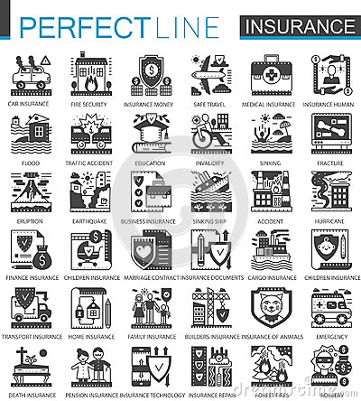 Insurance black mini concept symbols. Accident protection modern icon pictogram vector illustrations set. Vector Illustration