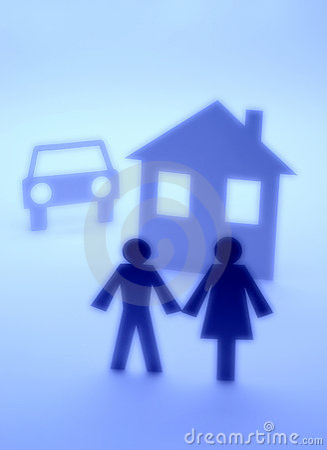 Insurance Car House Couple Silhouette