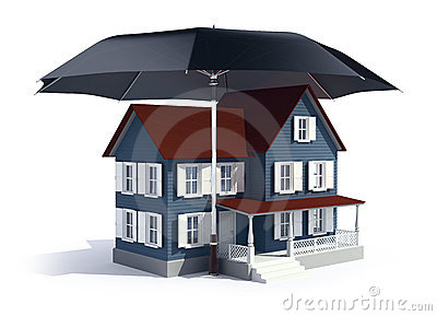 Insurance concept -  house under umbrella