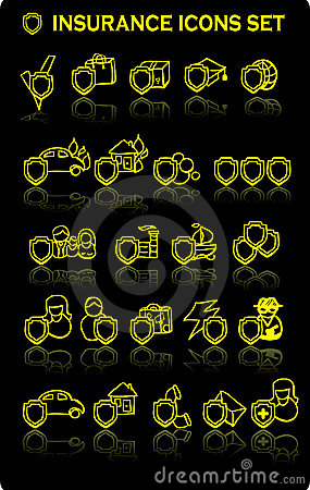 insurance icons set, all types,