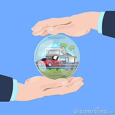 Free Insurance Service Hand Protective Gesture Bubble Car House On Blue Background Flat Royalty Free Stock Image - 119738726