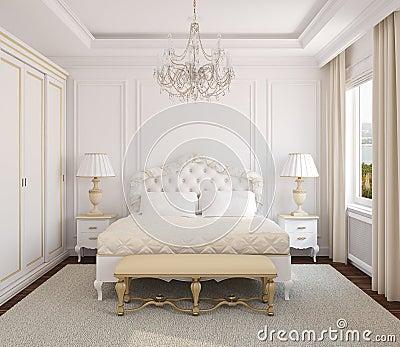 Int rieur classique de chambre coucher photo libre de for Chambre a coucher classique moderne