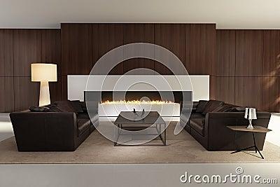 Int rieur contemporain un salon avec une chemin e image for Interieur contemporain photo