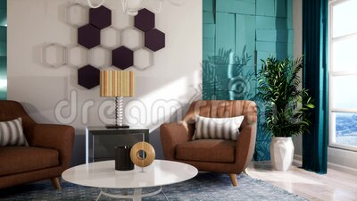 Intérieur du salon Illustration 3D illustration libre de droits