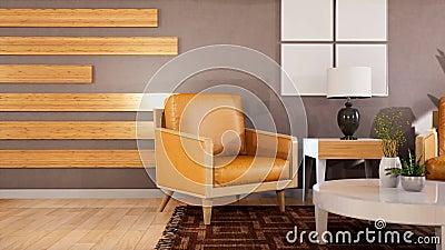 Intérieur du salon Illustration 3D illustration de vecteur