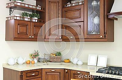 Int rieur moderne de cuisine avec la d coration blanche et brune images libre - Interieur cuisine moderne ...