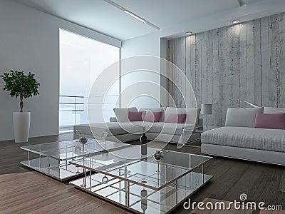 Int rieur moderne de salon avec le mur en b ton for Mur beton cire salon