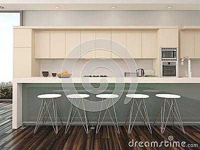Int rieur ouvert moderne de cuisine d appartement de plan for Cuisine moderne appartement