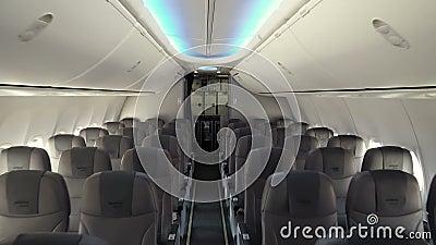 Int?rieur moderne de l'avion de ligne de soci?t? de vent de Nord clips vidéos