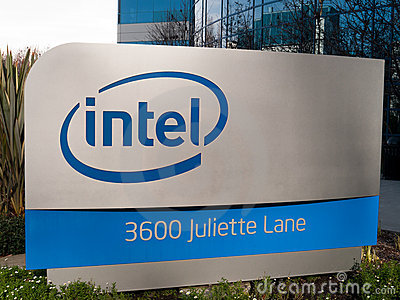 Intel Logo in Santa Clara California Editorial Stock Photo