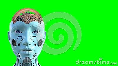 Inteligência artificial, cérebro, tecnologia, tela isolada, verde