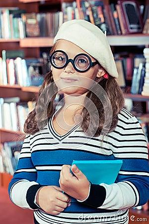 Intelligent girl in glasses