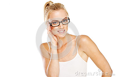 Intelligent woman wearing glasses