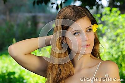 Intense gaze of a beautiful girl