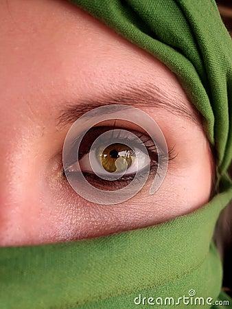 Free Intense Green Eyes Of Arabian Girl Royalty Free Stock Photos - 1262038