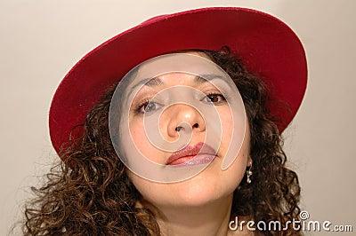 Intense latina woman