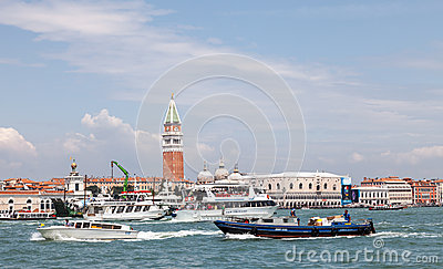 Intense Nautical Traffic in Venice Editorial Stock Photo