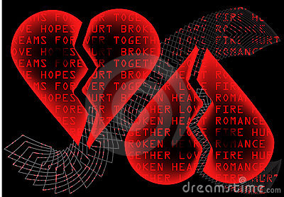 Intense red hearts on black