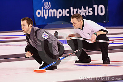 Intensity at the US Olympic Curling Trials Editorial Stock Photo