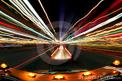 Intentional Blur Image of Driving at Night With Ci