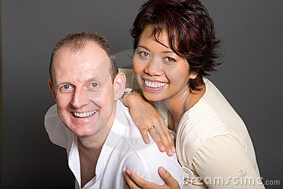 inter-marriage couple of Asian woman and European