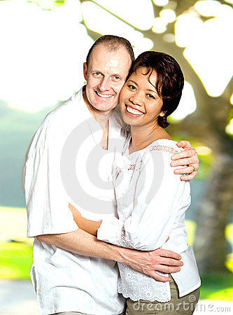 Inter-married couple of Asian and Caucasian