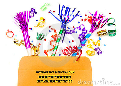 Inter-office folder with party favors