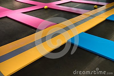 Interconnected trampolines for indoor jumping Stock Photo