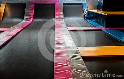 Interconnected trampolines for indoor jumping. New revolution pl Stock Photo