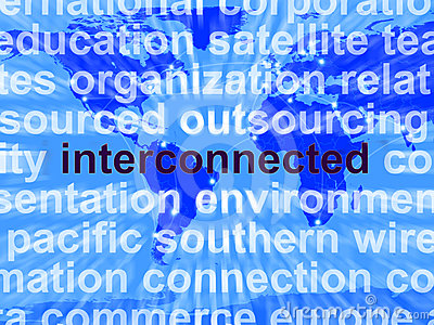 Interconnected Word On Map Showing Global Networks