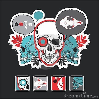 Interesting icons and composition with a skull