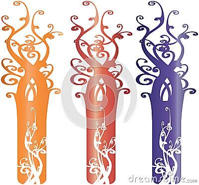 Interesting Ornate Tree Design Elements Illustrati
