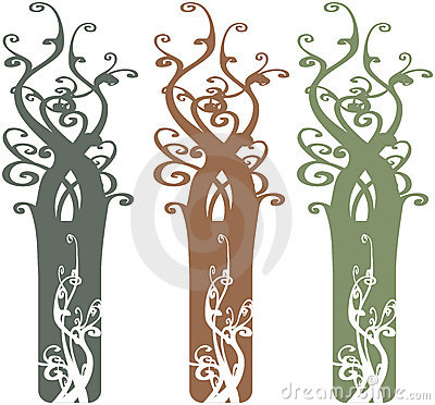 Interesting Ornate Tree Design Elements Illustrati