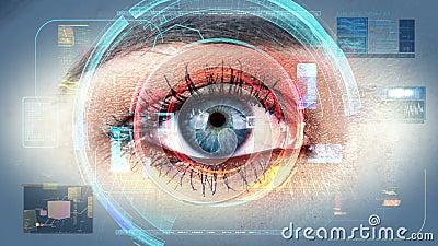 Interfaz 4K de la tecnología de la exploración de la identificación del ojo humano