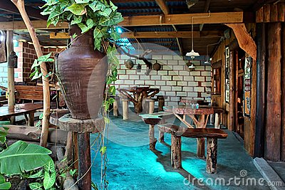 Interior of African country coffee shop