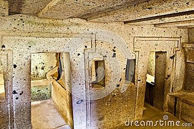 Interior of ancient tomb (Etruscan Necropolis)