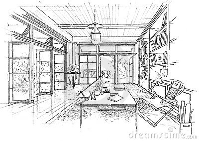 Interior architecture construction landscape sketc
