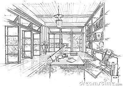 Interior architecture construction landscape sketc