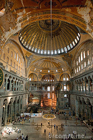 Interior of Aya Sophia, Istanbul Editorial Photo