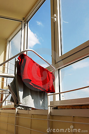 Interior of balcony with drying washing