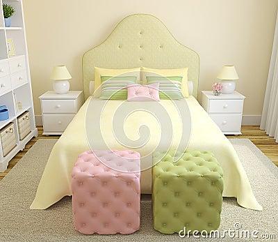 Interior of bedroom.