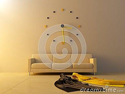 Interior - Big clock on sofa