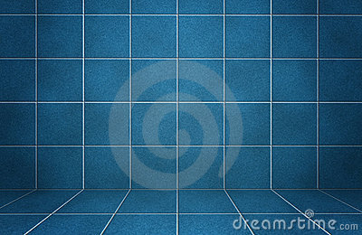 Interior blue marble tiled wall with shadows